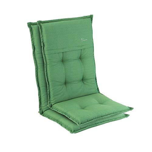 Homeoutfit24 Elbe - Cojín para sillas de jardín, Hecho en Europa, Respaldo Alto de dralón, Lavable, Banda elástica Ajustable, Relleno Espuma, Resistente Rayos UV, 2 Unidades, Verde