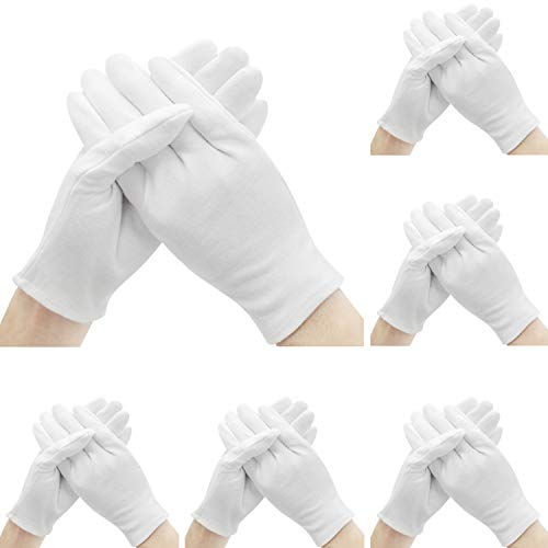 Cotton Gloves for Dry Hands, Shynek 12 Pairs White Cotton Gloves for Women Eczema, Cloth Gloves for Dry Hands, Serving, Handling Film, Marching, Archival, Coin Collecting