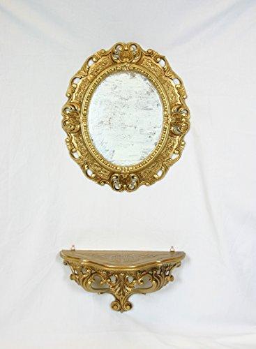 Ideacasa Completo Specchio Ovale più Mensola Consolle Oro Stile Barocco Finto Vintage Dorato