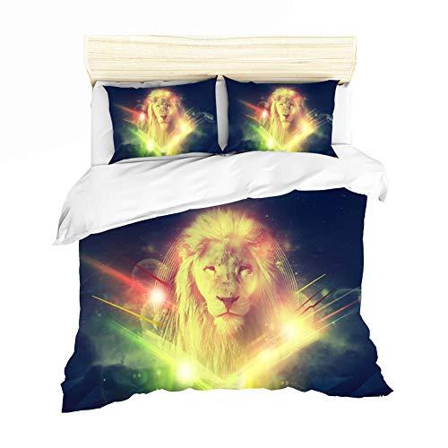 WEKUW Juego de sábanas y Fundas nórdicas Juego de Ropa de Cama Impresas en 3D león con Microfibra Suave, 2 Fundas de Almohada, Cremallera Oculta 240x220 cm