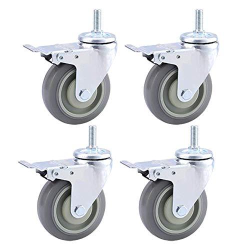 Moving Caster Wheels Heavy Duty Swivel Wheels for Furniture Trolley Wheels Castors 4 Heavy Duty Casters M12 × 30mm Thread Industrial Transport Rubber Wheels With Brake 75mm / 100mm/125mm 400KG U