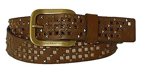 Calvin Klein Ceinture unisex leather w holes pattern brown 80cm
