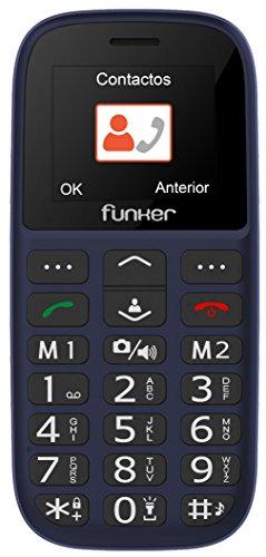 Teléfono Móvil Funker C65 EASY PLUS, Fácil de usar para Personas Mayores con botón SOS y Base cargadora. Cámara de Fotos y Agenda con Fotocontactos (Rojo).