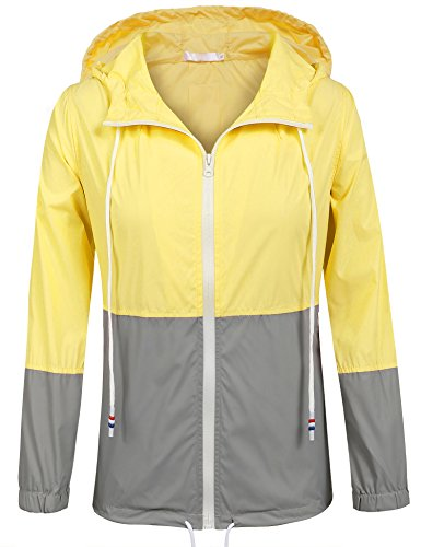 SoTeer Women's Waterproof Raincoat Outdoor Hooded Rain Jacket Windbreaker (Yellow XXL)