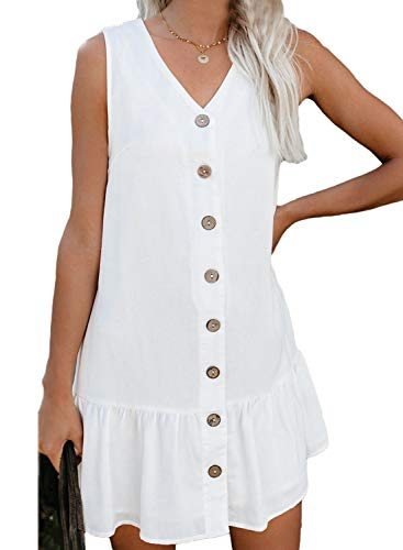 Happy Sailed Womens Tank Dress Button Down Ruffle Mini Dress Casual V Neck Loose Ruffle Tshirt Dress X-Large White