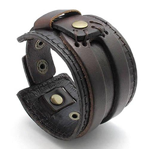 mendino Herren Damen Breit handgefertigt Echt Leder Armband Armreif Manschette Schmuck mit 1x...