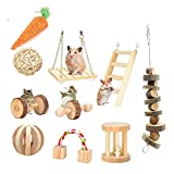 <span class='highlight'><span class='highlight'>ESRISE</span></span> Hamster Chew Toys, Rabbits Bunny Gerbil Rat Guinea Pig Chinchilla Natural Wooden Chew Toys, Dumbbells Exercise Bell Roller Teeth Care Molar Toy(10 pcs)