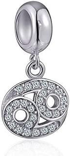 Cancer Zodiac Sign Charms for Pandora Charm Bracelets - 925 Sterling Silver Necklace Pendants, 12 Constellation/Horoscope Star Dangle - Dangling Birthstone Beads, Birthday Gifts Women/Men/Girls/Boys.
