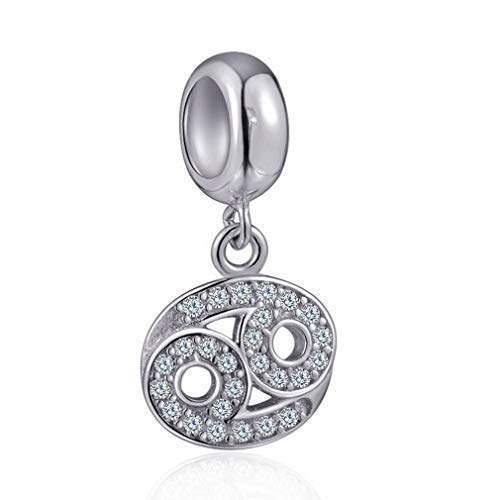 Cancer Zodiac Sign Charms for Pandora Charm Bracelets - 925 Sterling Silver Necklace Pendants, 12...