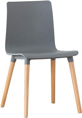 チェアレジャーチェアメイク議長にから選択する4色のダイニングシンプルなソリッドカラーカフェホームプラスチック背もたれソリッドウッドフィート (Color : Gray)