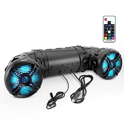 Pyle Marine ATV Powered Speakers – 4.0 Wireless Bluetooth, 800 Watt, Color Changing LED Lights, IP44 Waterproof, 6.5…