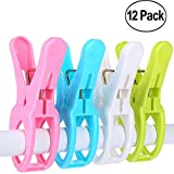 IELEK Beach Towel Clips Cruise Chair Holder Double Thickness Fashion Colors Plastic Quilt Hanging Clamps Jumbo Size 12 Pack for Pool Loungers Clothes Blanket Swimsuits,Curtains