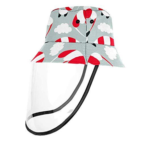 VFSS Fallschirm-Panda Sonnenhut Damen Eimer Sonnenhut faltbar Outdoor Hut Schutz Sonnenhut mit klarem Gesichtsschutz, Mehrfarbig2, Head Circumference 21.2 Inches(54cm)