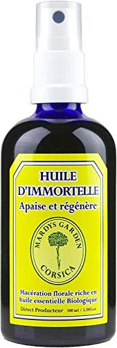 Huile d'immortelle Corse 100ml. Prête à l'emploi, macérât de fleurs riche en huile essentielle d'immortelle Bio.
