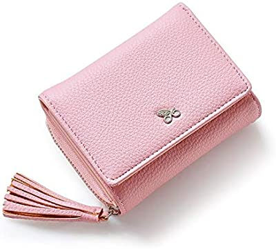 Female Small Wallets Women Tassel Pendant Short Money PU Leather Ladies Zipper Coin Purse Fashion Card