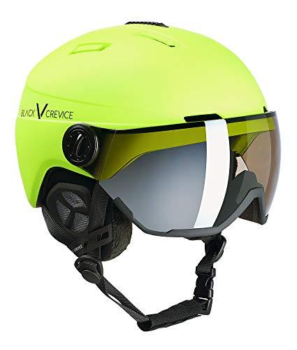 BLACK CREVICE Casco da sci Calgary I Casco da sci con visiera stile pilota in diversi colori I Casco da sci per Uomo & Donna I Casco da sci in policarbonato I Casco traspirante I Regolabile