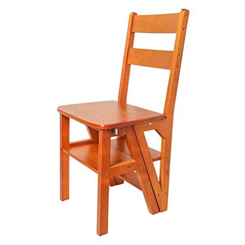 Liyff Houten ladder, kruk, 3-dieren-bibliotheek, stapelladder, kruk, grenenhout, multifunctionele inklapbare keuken, bureaustoelen, draagvermogen max. 150 kg