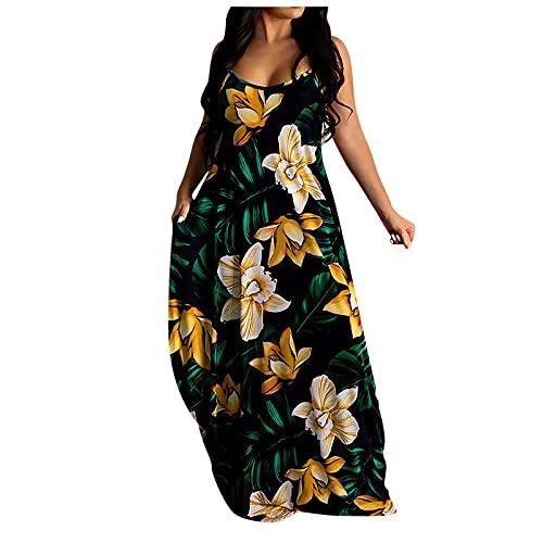 Maxikleider Damen Sommerkleid Casual Loose Ärmellos Drucken V-Ausschnitt Strandkleid Boho Kleider Böhmen A-Linie Lang Kleid Partykleid