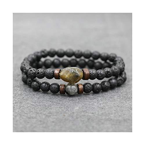 WAZG SYBLD - Pulsera para hombre, piedra lunar natural, 6 mm, cuentas de lava (longitud: 19 cm, color metálico: negro lava, 2 unidades)