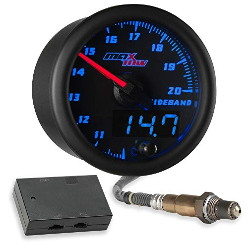 MaxTow Double Vision Wideband Air/Fuel Ratio AFR Gauge Kit - Includes Oxygen Sensor, Data Logging Output & Weld-in Bung - Black Gauge Face - Blue LED Dial - Analog & Digital Readouts - 2-1/16' 52mm