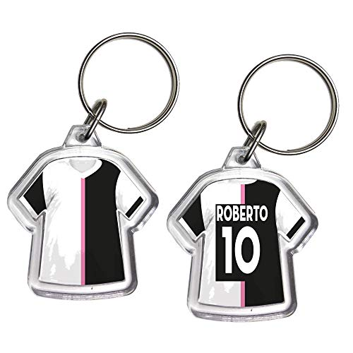 URBANZONE Portachiavi Mini T-Shirt Squadra Calcio Serie A Serie B Portachiave Gadget in Plexiglaxx Personalizzato con Nome E Numero Idea Regalo Casa Auto (Juventus)
