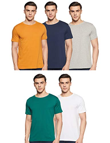 Amazon Brand - Symbol Men's Solid Regular Fit Half Sleeve Cotton T-Shirt (Combo Pack of 5) (AW17PLPO5-1_XL_Multicolor1)