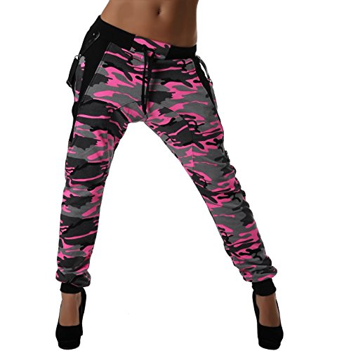 Crazy Age Camouflage Jogginghose Boyfriendhose Bagyyhose mit Hosentäger CA 1119 Cam (L, Pink)