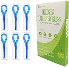 EasyHonor Dental Floss Threaders for Braces, Bridges, and Implants ,210 Count (Pack of 6)