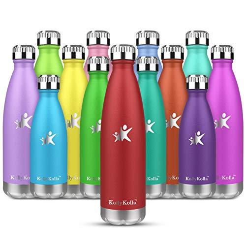 KollyKolla Botella de Agua Acero Inoxidable, Termo Sin BPA Ecológica, Botellas Termica Reutilizable Frascos Térmicos para Niños & Adultos, Deporte, Oficina, Yoga, Ciclismo, (500ml Rojo)