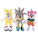 Zpong 3 Unids / Lote 28Cm Sonic Peluche De Peluche De Juguete De Dibujos Animados PP Algodón Sonic S...