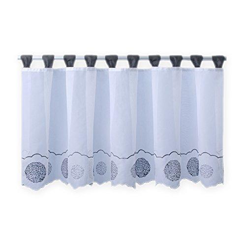 Bistrogardine Punkte ca. 155x45 cm Cafehaus Gardine transparent Voile Fenstergardine Vorhang #1279 (grau)
