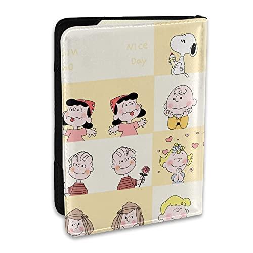 Titular de pasaporte de cuero impreso Snoopy de dibujos animados, tarjeta de crédito y tarjeta de identificación, accesorios de viaje