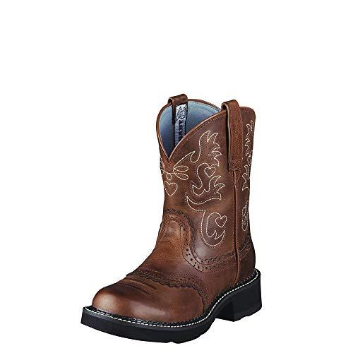 Ariat 0860 Fatbaby Saddle Rebel Lederstiefel für Damen Braun Westernreitstiefel Reitstiefel, Groesse:42.5 (8.5 UK)
