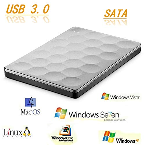 ZHSHOP Festplatten,Festplattengehäuse Ultradünne 2,5-Zoll-SATA Auf USB 3.0 Festplatte HD 1 TB Festplatten-Backup Externes Festplatten Gehäuse Geeignet Für PC Und Mac Enclosures External