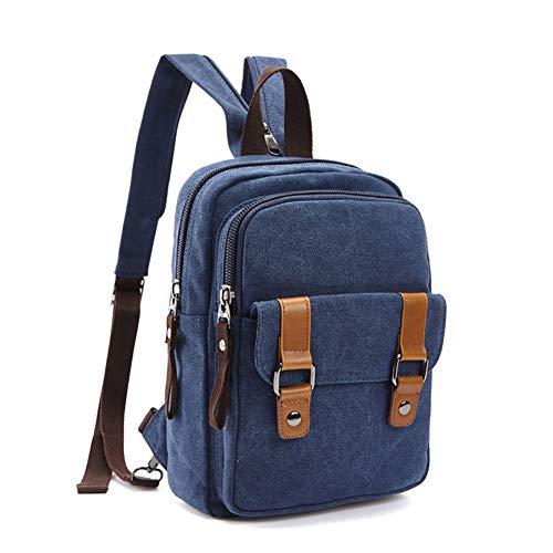 WYYHAA Vintage Canvas Backpack Sling Bag Chest Shoulder Backpack Crossbody Bicycle Rucksack School Handbag for Men Women Backpack Convertible Shoulder Bags,B