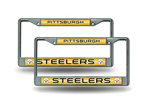 Pittsburgh Steelers Chrome Metal (2) Bling License Plate Frame Set