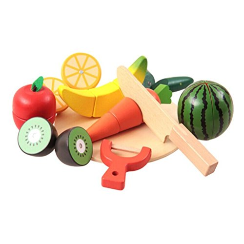 OFKPO Juguetes Frutas y Verduras - Juguetes Frutas para Cortar Madera, Juego de Alimentos para niños