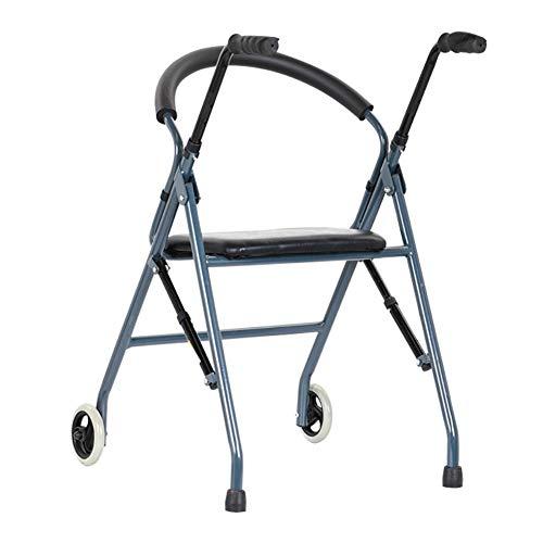 Gehhilfe Einstellbare Gehhilfe Zum Zusammenklappen mit Armlehne und Weichem Ledersitz, Aluminiumlegierung Upright Walker Crutchadjustable Height