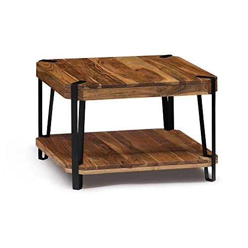 Alaterre Furniture Ryegate Natural Solid Wood with Metal Cube Coffee Table