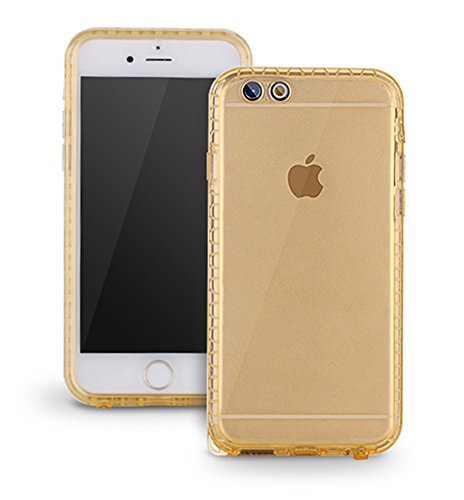 PISSION Waterproof Cases Ultra Slim Full Body Protective Cover Compatible with iPhone 6/6S (Gold.)