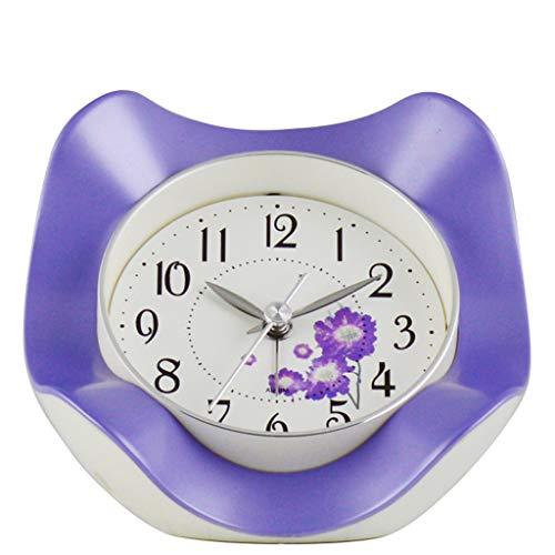 Luz nocturna analógica Reloj despertador silencios Despertador simple Estudiante de cabecera Mute despertador Forma de flor creativa Despertador de escritorio Reloj ruidoso fácil de configurar para ni