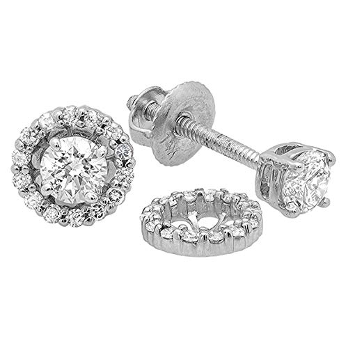Dazzlingrock Collection 0.45 Carat (ctw) 14K Round Diamond Ladies Stud Earrings With Removable Jackets 1/2 CT, White Gold