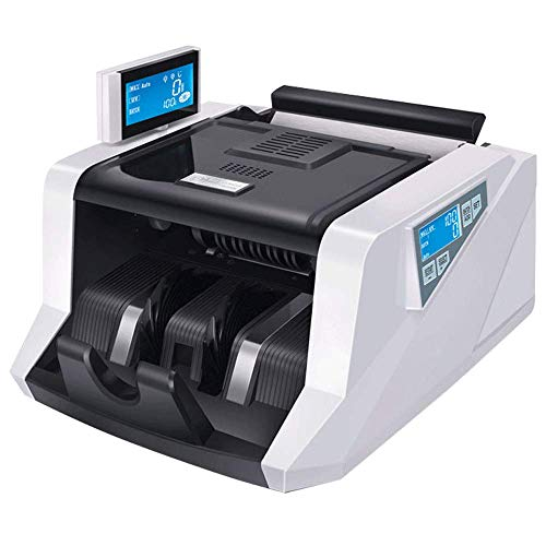 ASJJ Automatischer Banknotenzähler Falschgeld Detektor Geldzähler Geldzählmaschine Multi-Currency-Banknote mit UV-MG-Fälschungsdetektor Externes LCD-Display für Euro-GBP-Dollar