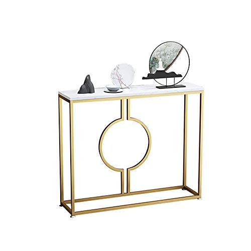 Table Console Table,Marble Entryway Table Iron Art Entering The Door Living Room Hotel Sofa Table Gold 30 × 11 × 30 Inch For Living Room Bedroom (Color : Marbleb) Home