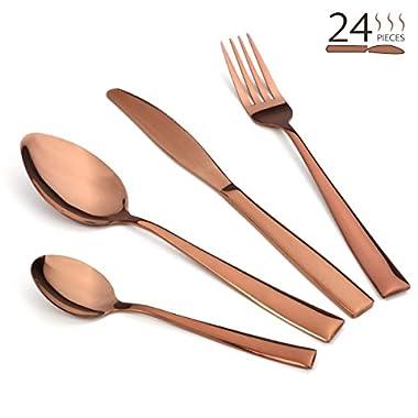 Silverware Set, Lekoton 24 pcs Stainless Steel Flatware Set Service for 6 Kitchen Tableware Set Dinnerware Dinner Knife Fork Spoon Cutlery Utensil Set for Home Restaurant Hotel Classic Copper