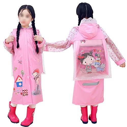 Ponchos de lluvia con capucha para niños y niñas con funda para mochila escolar (color: rosa, tamaño: 3XL)