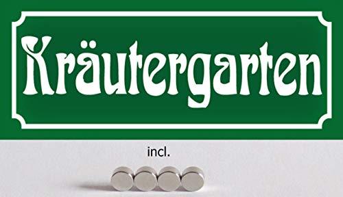 Blechschild 27x10cm gewölbt incl. 4 Magneten Kräutergarten Kräuter Garten Deko Geschenk Schild