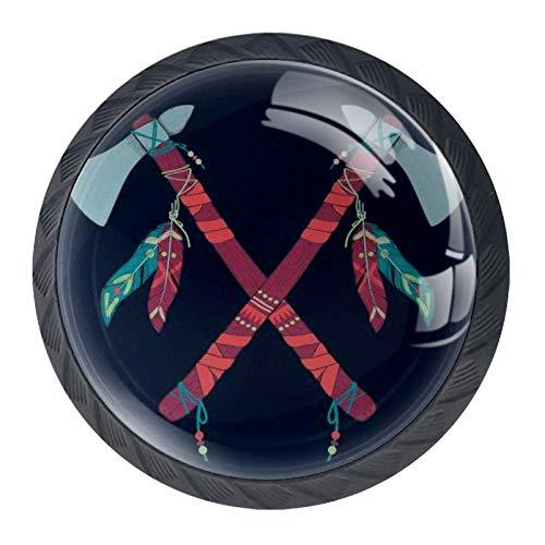 Inheemse Amerikaanse Indiase Tomahawks 4 Stks Kast Dressoir Knopen Lade Deur Trek Handgrepen voor Keuken Badkamer Unieke 35mm Color01