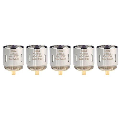 Eleaf HW4 Coils (0,3 Ohm), Quad-Cylinder, Riccardo Verdampferköpfe für e-Zigarette, 5 Stück