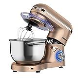 Aucma - Robot de cocina (1400 W, con bol de acero inoxidable de 6,2 L, amasador, batidor,varillas y protección para salpicaduras, 6 velocidades, silencioso)